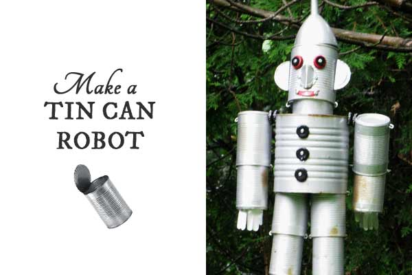 Turn empty food cans into sweet garden art robots and pets with these ideas.
