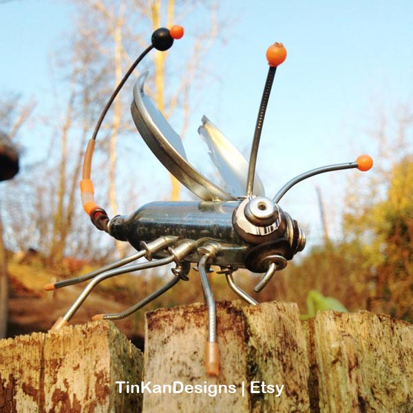 Garden junk scorpion by TinKanDesigns on Etsy.