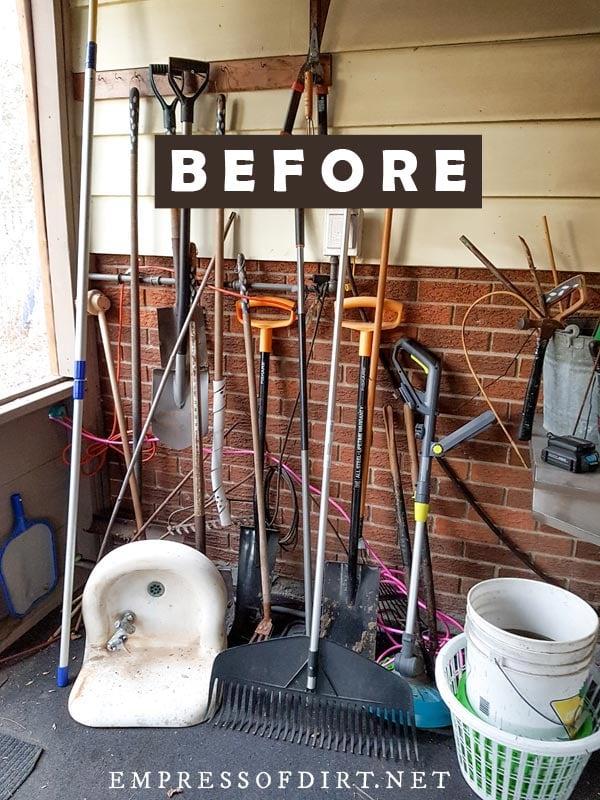 Messy garden tools.