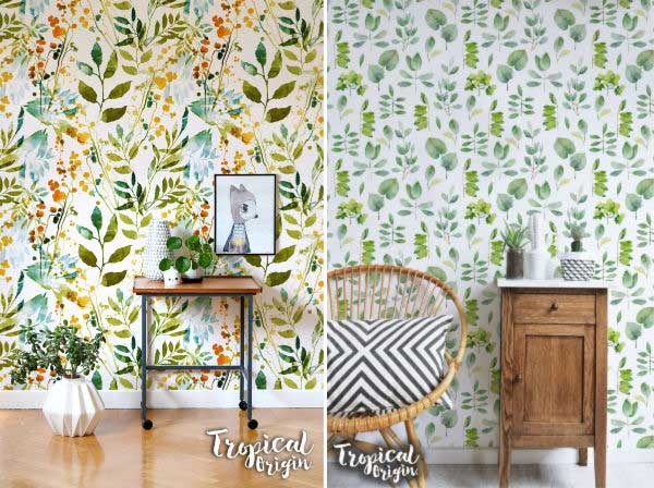 Garden-themed removable wall paper examples.