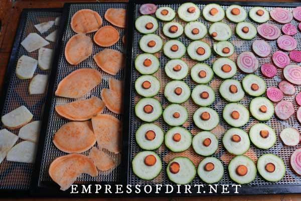 Veggie slices ready for baking.