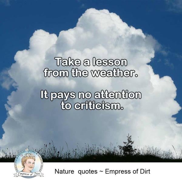 Take a lesson from the weather. It pays no attention to criticism.