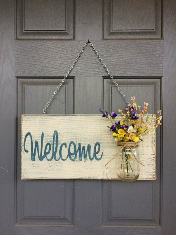 Beautiful, rustic WELCOME sign with mason jar vase by RedRoanSigns on Etsy