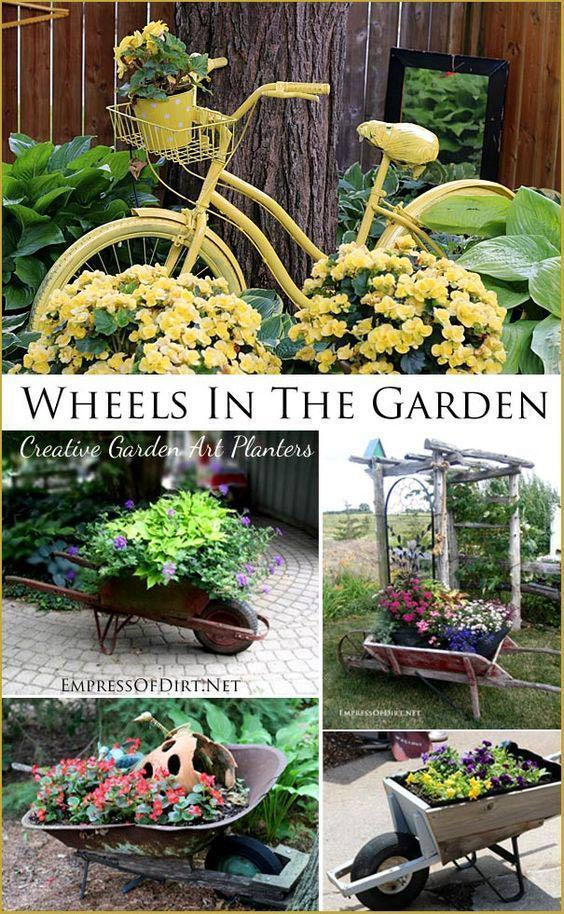 Decorating the garden with wheel-themed art.