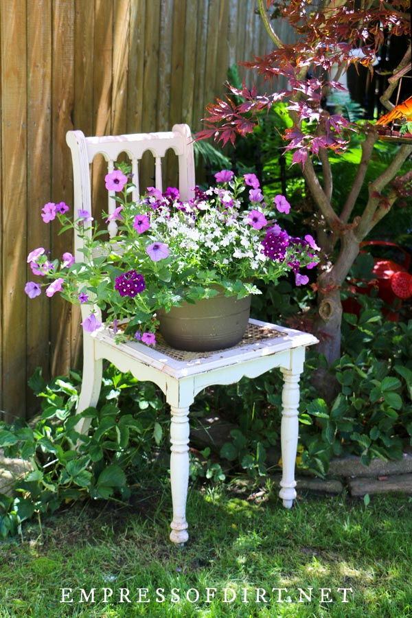 White chair with purple flowers in container