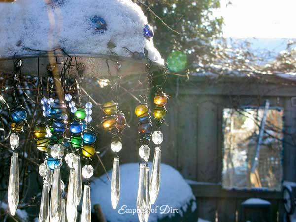 Garden chandelier in the winter garden.