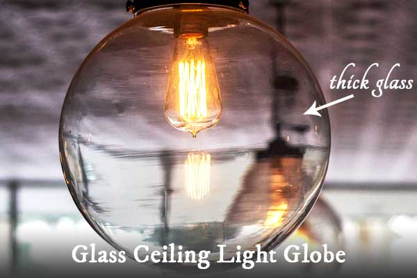 Old glass ceiling lamp globes made of thick glass can be turned into decorative garden art balls