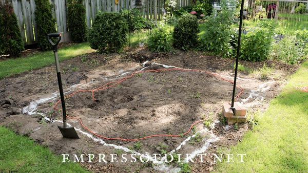 Mapping out location for garden pond.