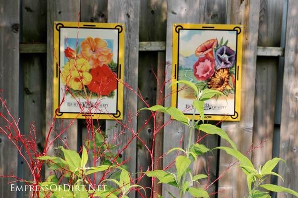 Seed packet fence art.