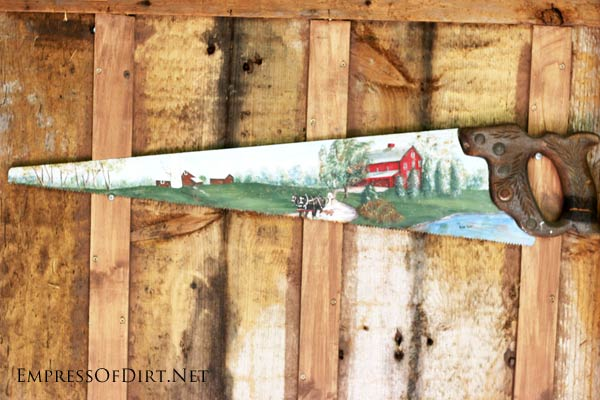 Hand-painted saw.