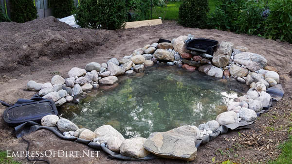 Adding water to a backyard garden pond.