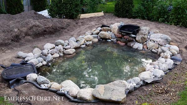 Adding water to a backyard garden pond.