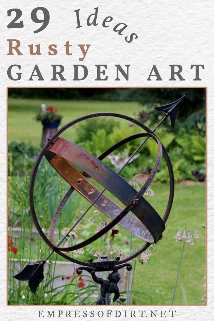 Rusty garden art orb in a backyard.