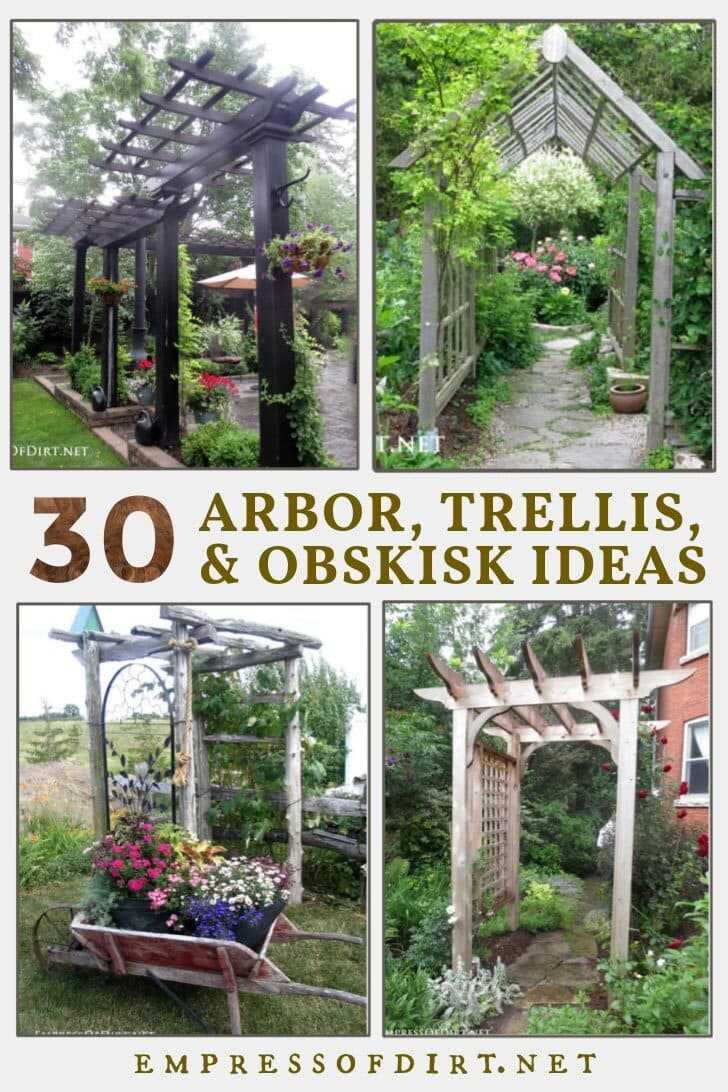 Various arbors, trellises, and obelisks in home gardens.