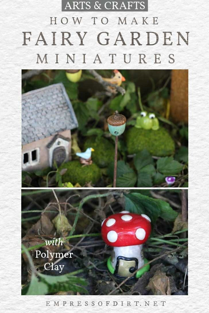 Miniature accessories for a fairy garden including a little birdhouse and toadstool.