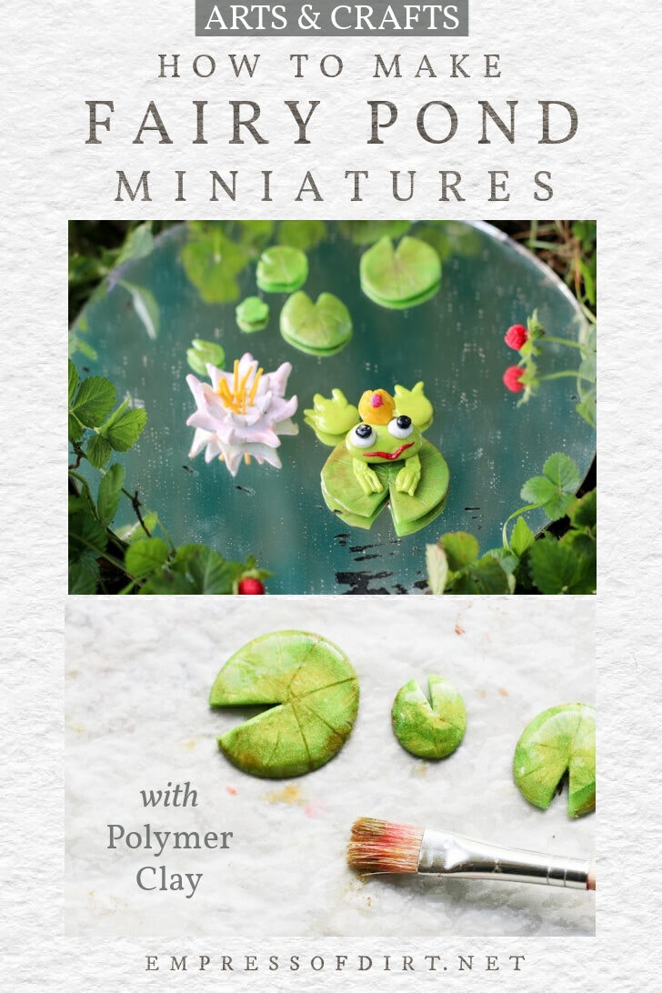 Fairy garden accessories made from polymer clay including a frog and lily pads.