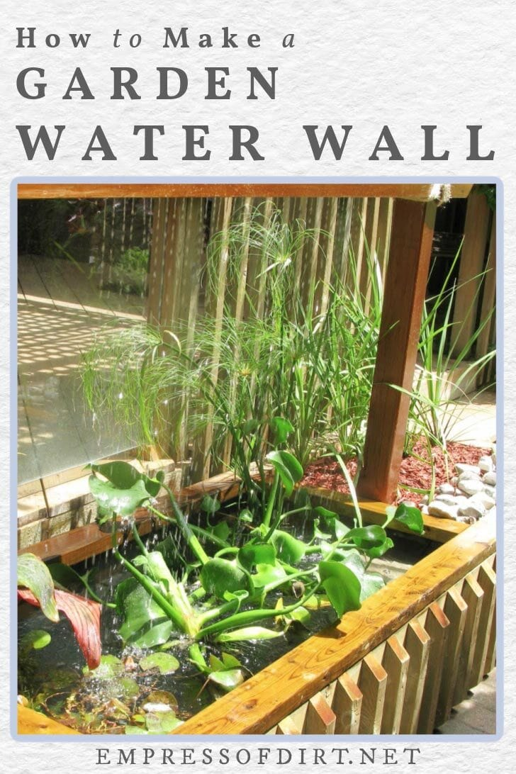 A water wall flowing into a container water feature.