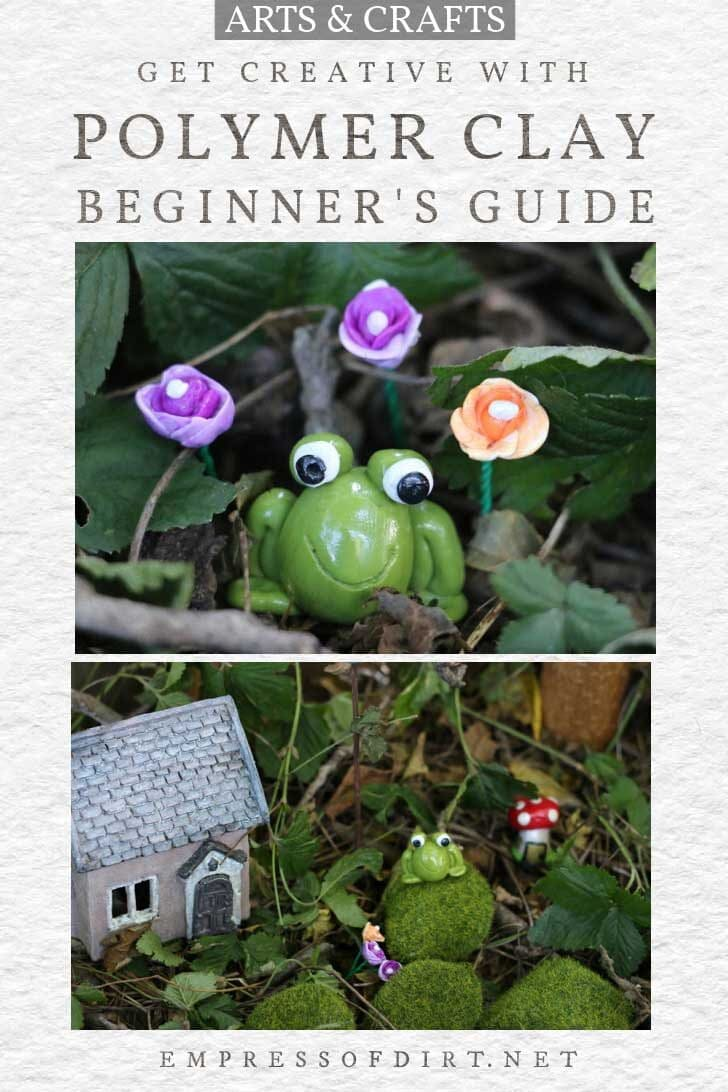 Beginner polymer clay projects including frog and flowers.