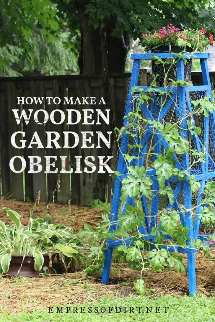 DIY garden obelisk painted blue.