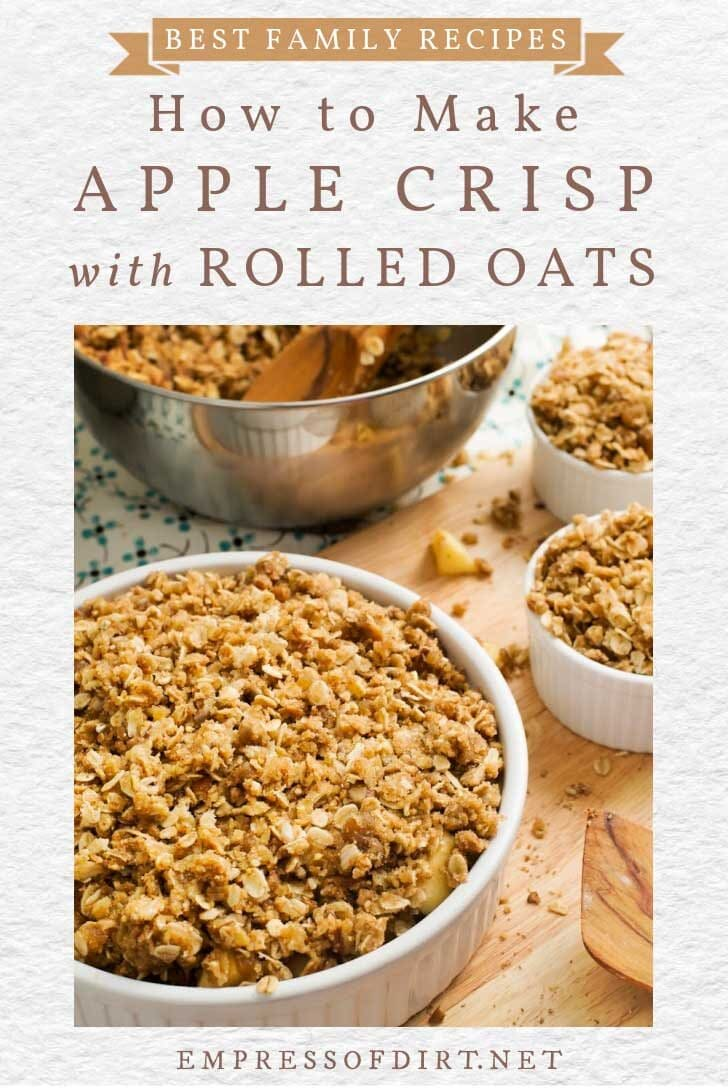 Homemade apple crisp with rolled oats in bowls.