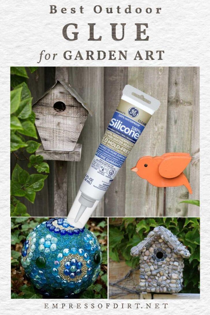 Garden art and glue tube.