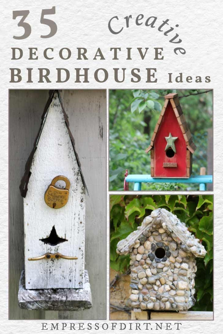 Examples of decorative birdhouses in the garden.
