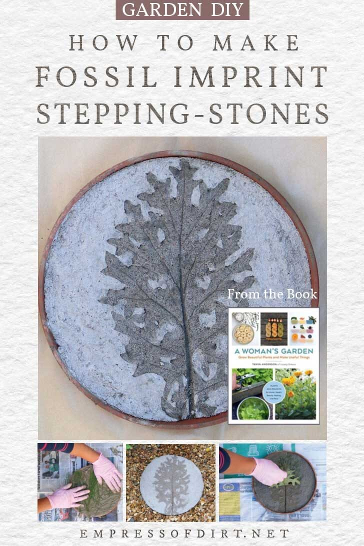fossil imprint stepping-stones from the book, A Woman's Garden by Tanya Anderson.