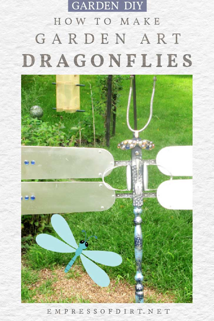 Garden art dragonfly made from old ceiling fan blades.