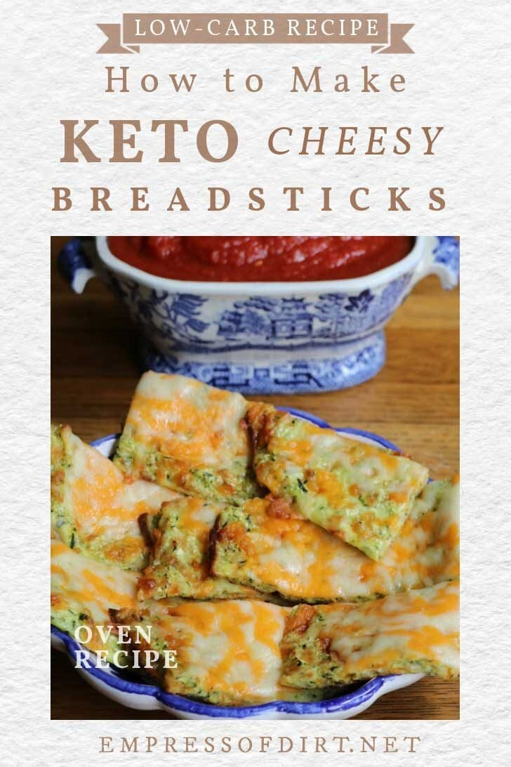 Low-carb cheesy keto breadsticks and dip.
