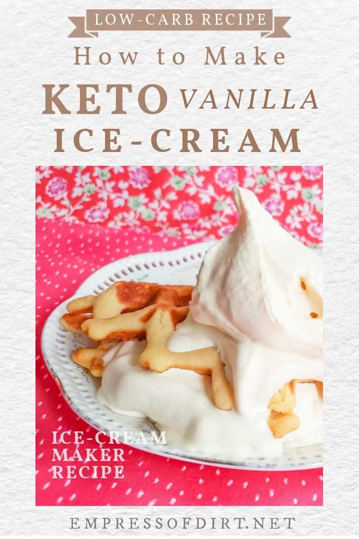 Low-carb vanilla keto ice-cream on a dessert waffle.