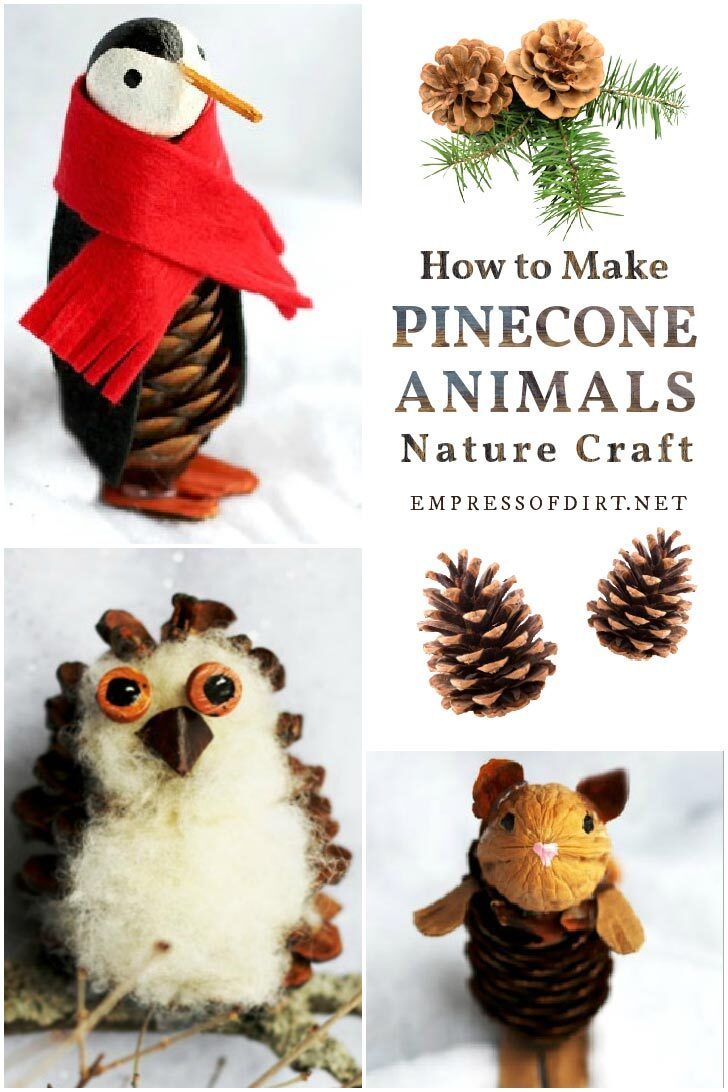 Toy animals made from pinecones including a penguin, owl, and mouse.
