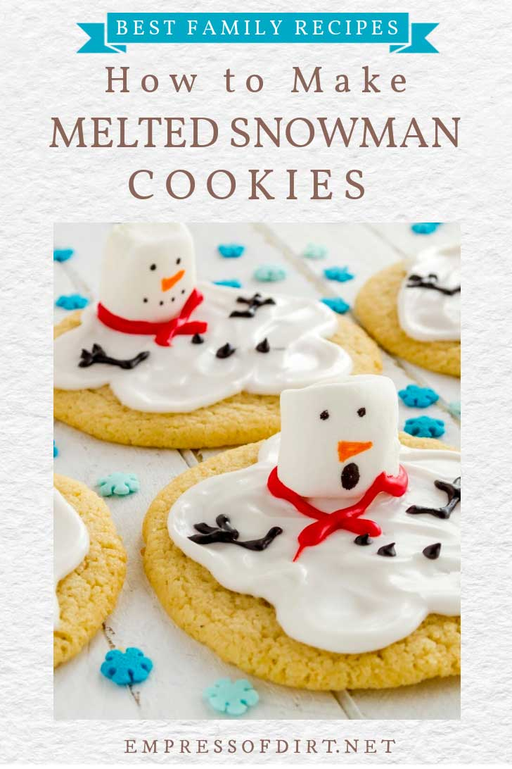 Melted snowman cookies with funny faces.