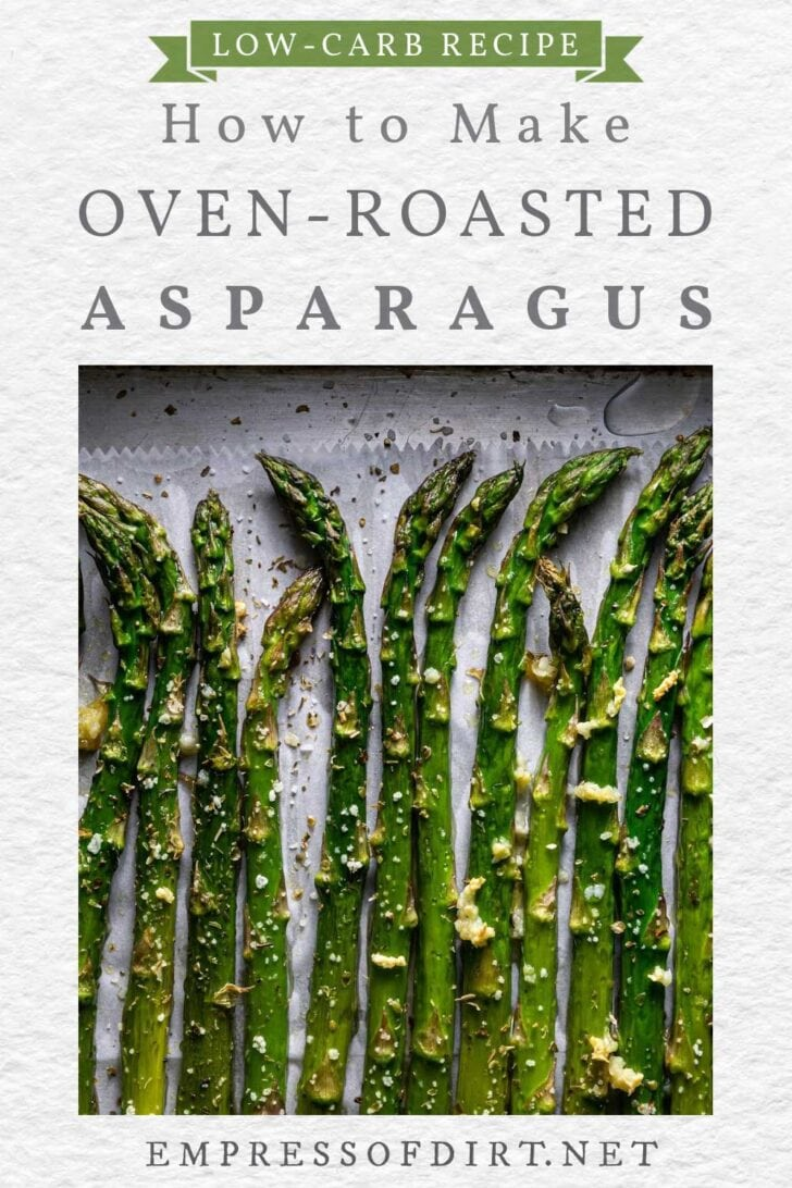 Oven-roasted asparagus with parmesan cheese.