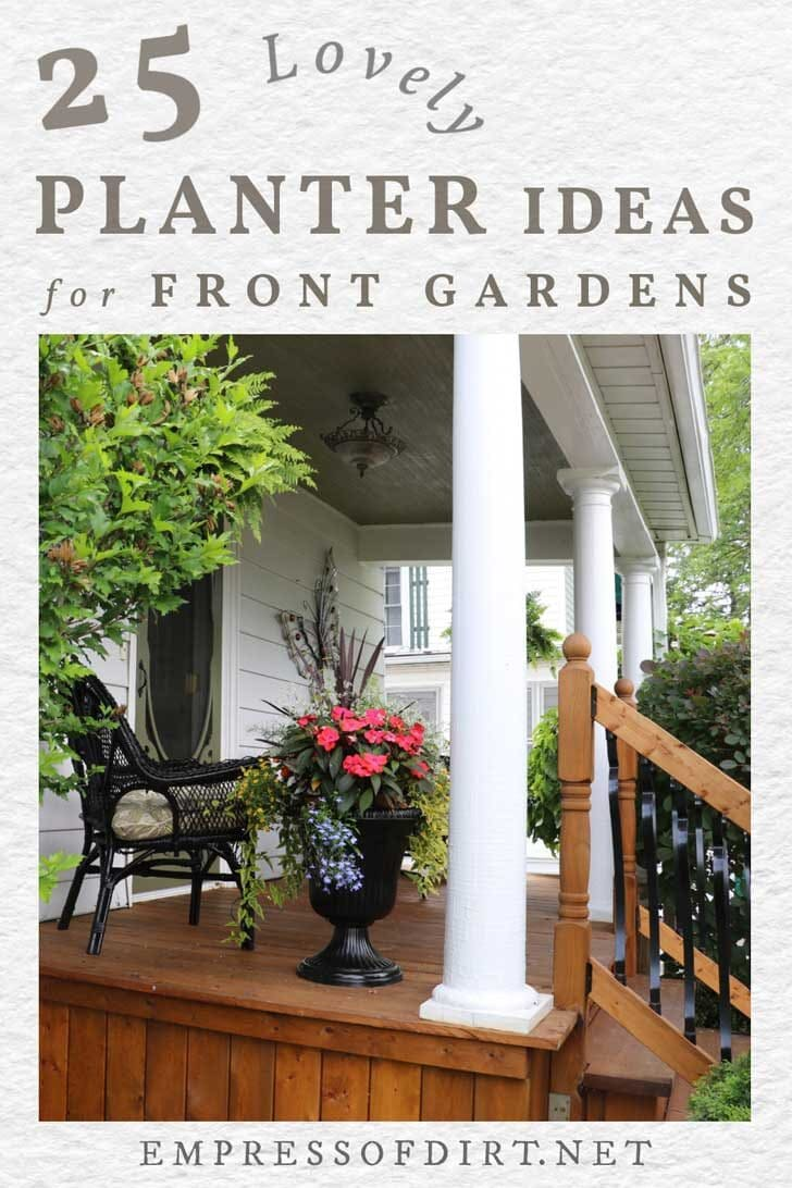 Front porch with black urn of vivid pink flowers.