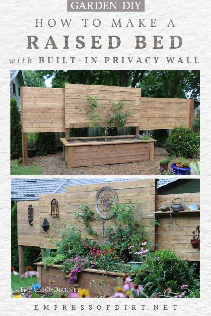 Cama elevada con muro de privacidad incorporado en jardín.