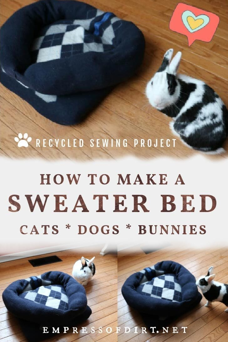 Pet bed made from a sweater and a black and white bunny rabbit.