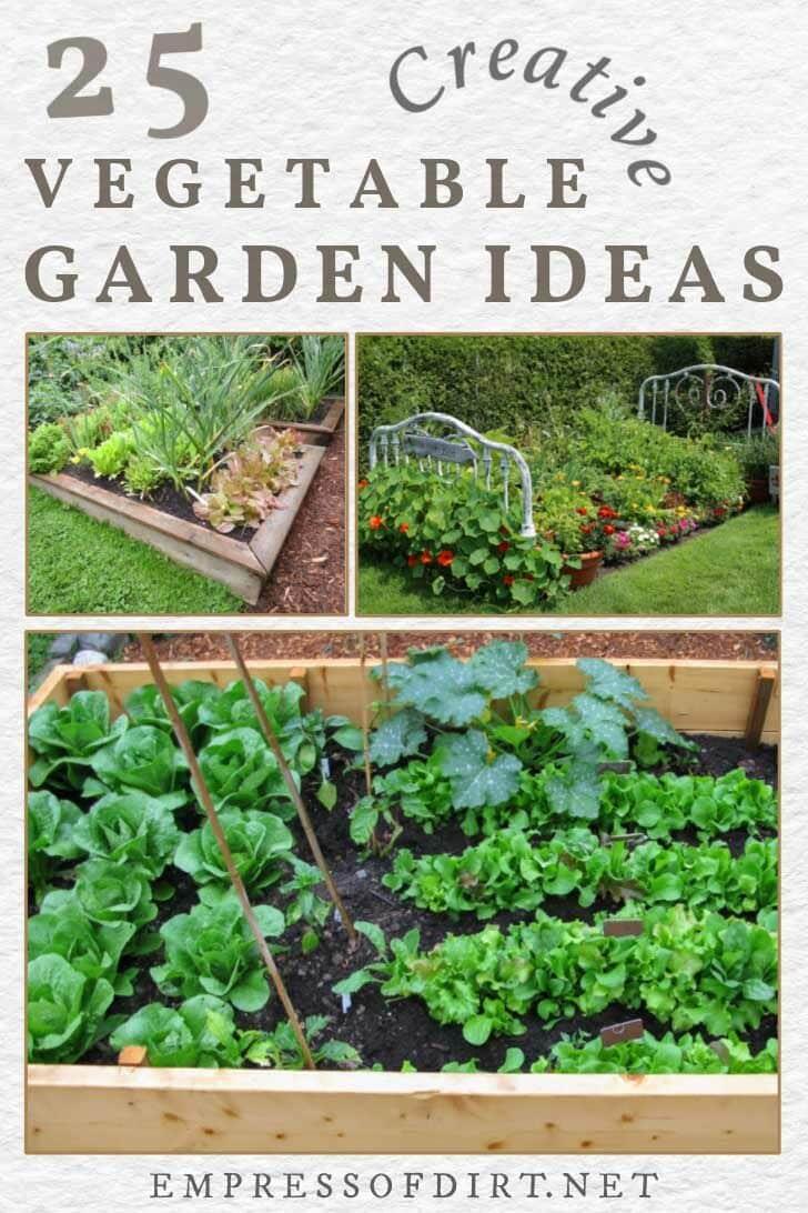 Examples of vegetable garden layouts.
