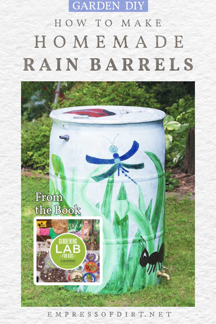 Homemade rain barrel painted with dragonfly motif.