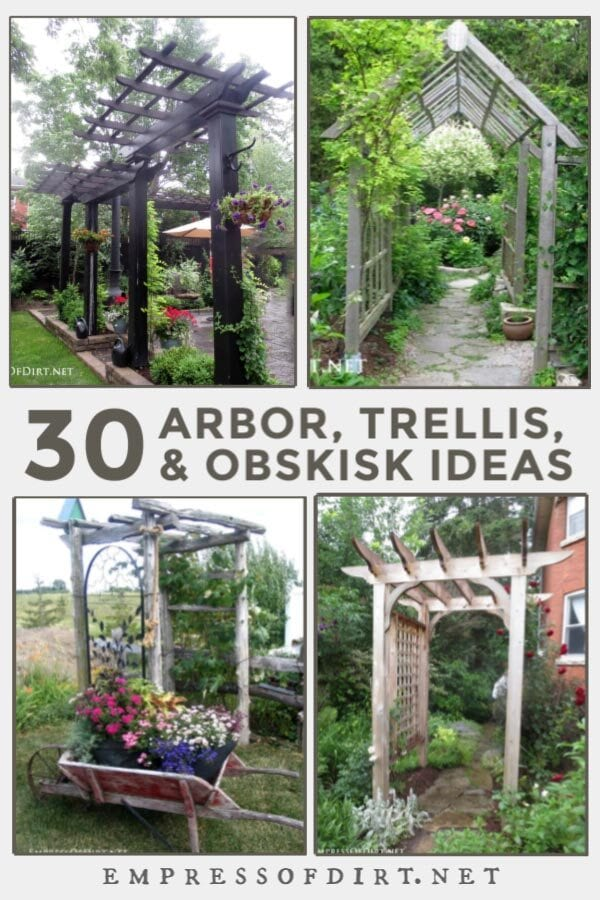 Examples of arbors in backyard gardens.