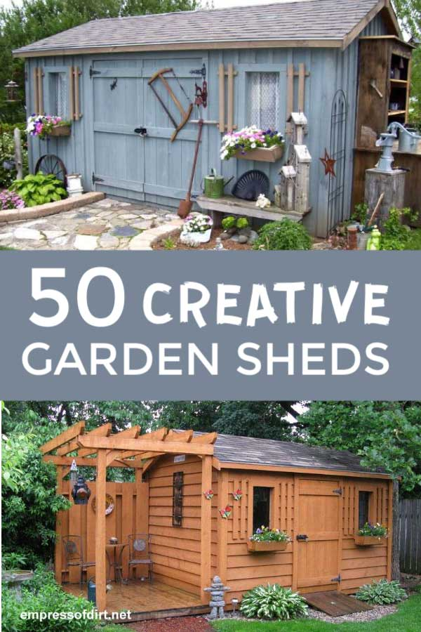 Blue garden shed with old tools as decor and wood-stained shed with arbor and patio.