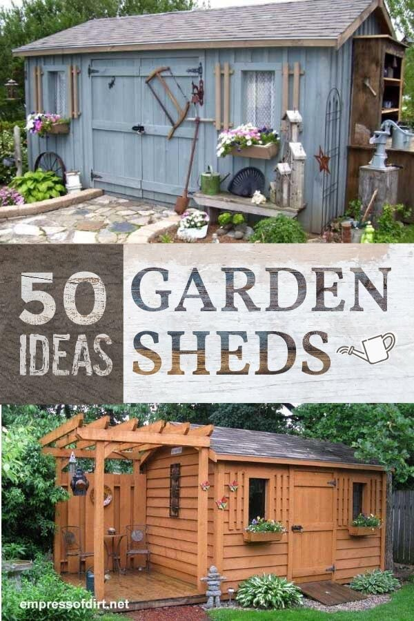 Examples of creative garden sheds: one painted blue, the other in natural wood.