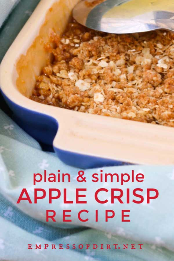 Apple crisp dessert in blue serving dish with spoon.