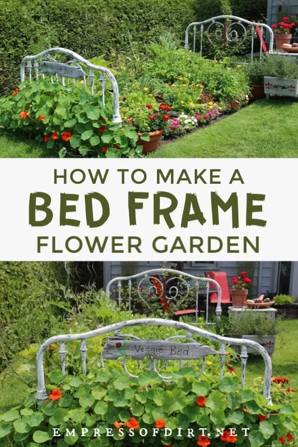 Old bed frames used in flower garden