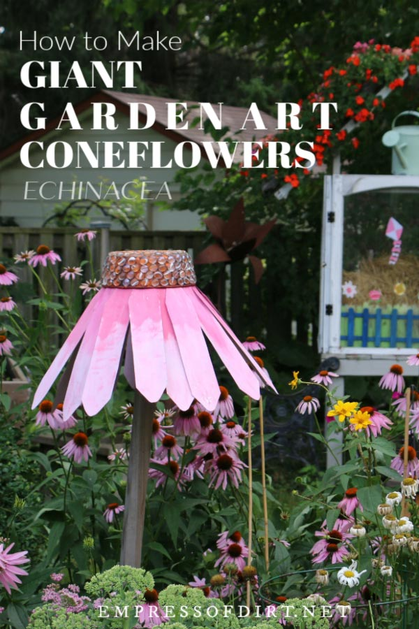How to make giant garden art coneflowers to decorate your garden.