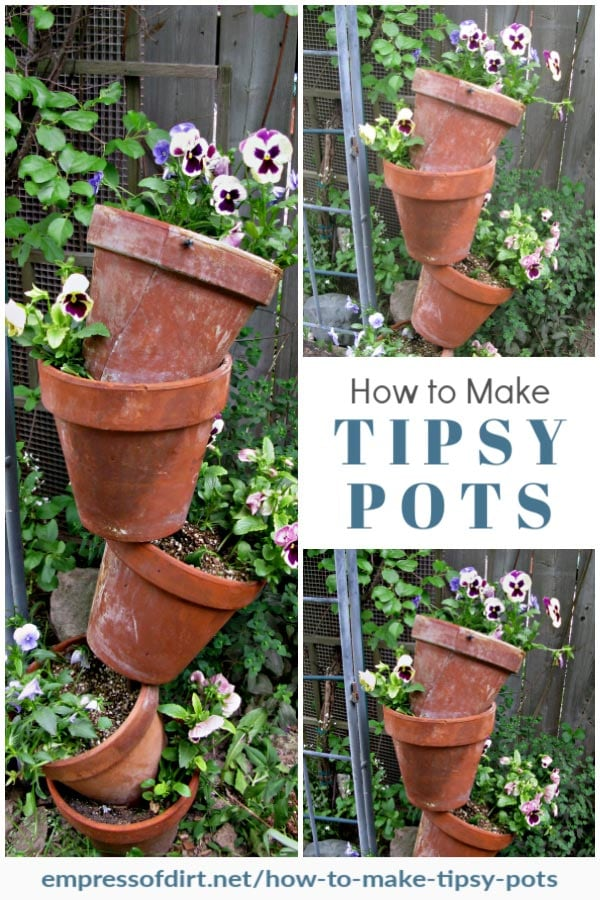 Tipsy pots in the garden with pansies.