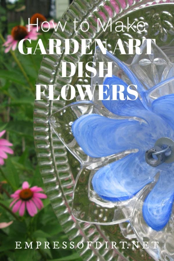 Garden art flowers made from dishes and plates.