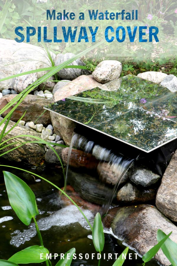 DIY Waterfall spillway cover using thrift shop materials.