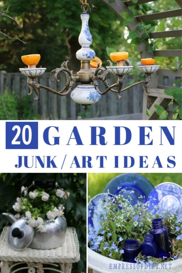 Creative garden art and decor ideas made from kitchen stuff.
