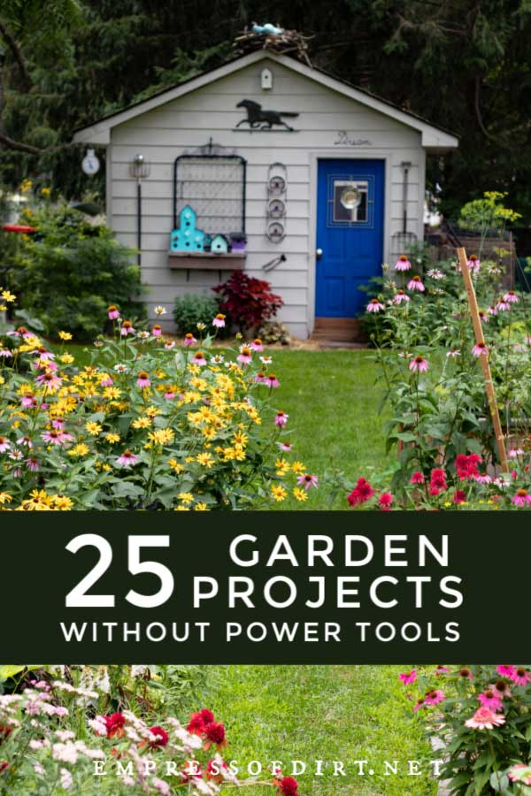 Garden with shed and garden art.