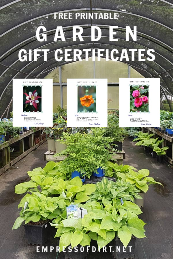 Printable Gift Certificates for Your Favorite Gardener